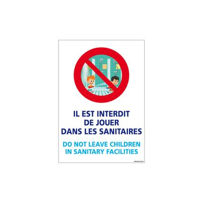 PANNEAU INTERDICTION DE JOUER DANS SANITAIRES